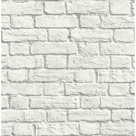 Brewster Cologne White Painted Brick Wallpaper
