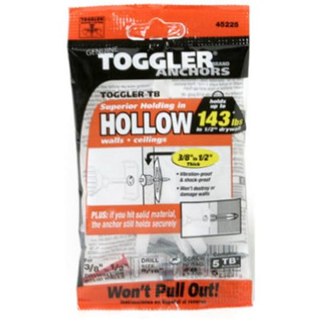 Mechanical Plastics 50300 0.37 - 0.50 in. TB Hollow Wall Anchors - 5 Pack - image 1 of 1