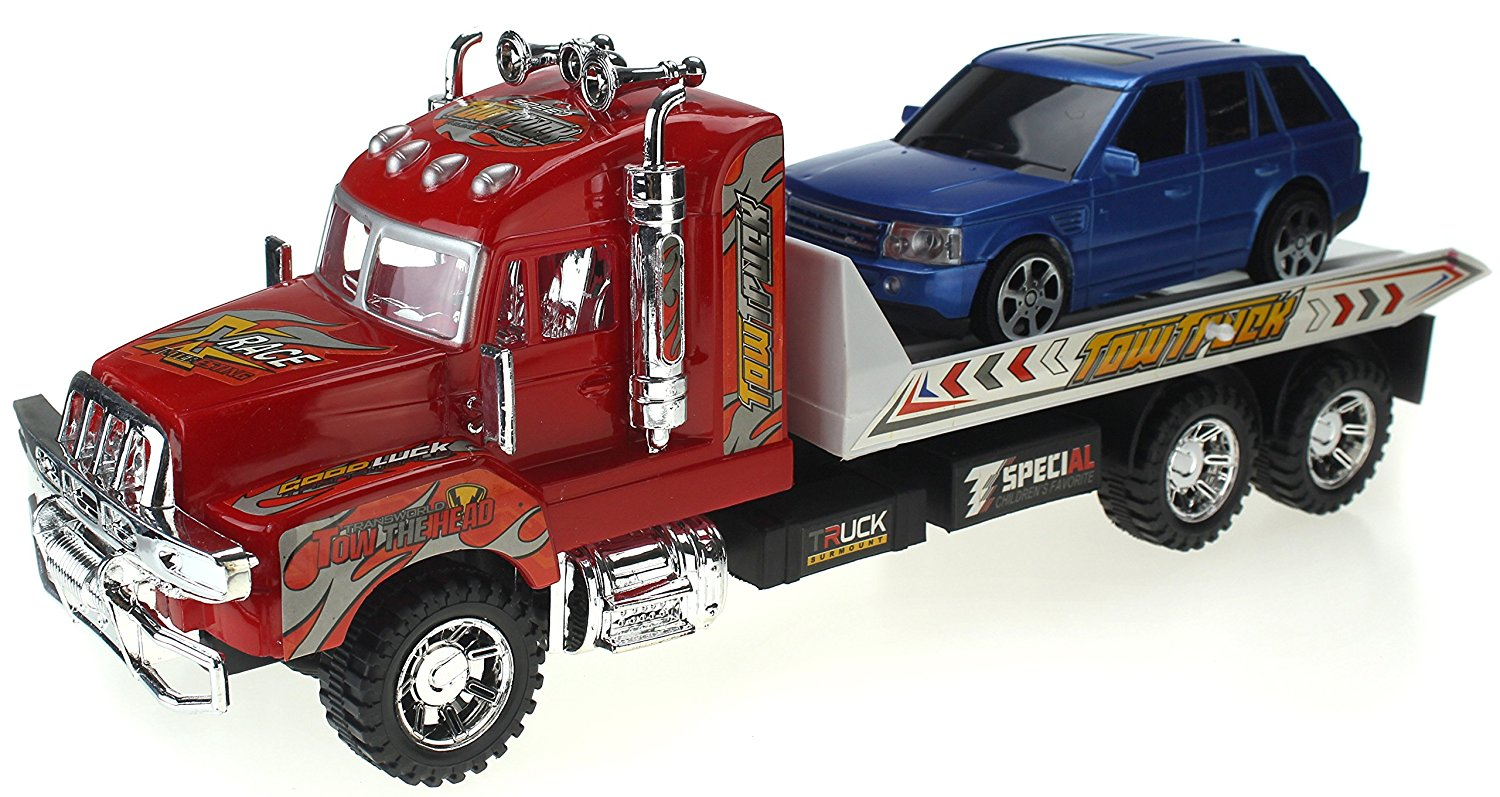 Super Speed Power Friction Powered Toy Tow Truck w  Friction Power, & Tow-able Car by Velocity Toys