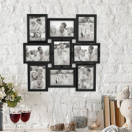 Collage Picture Frame With 9 Openings For 4x6 Photos Wall Hanging