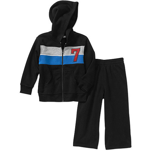 Faded Glory Baby Boys' 2-Piece Chest Stripe Hoodie and Pants Set