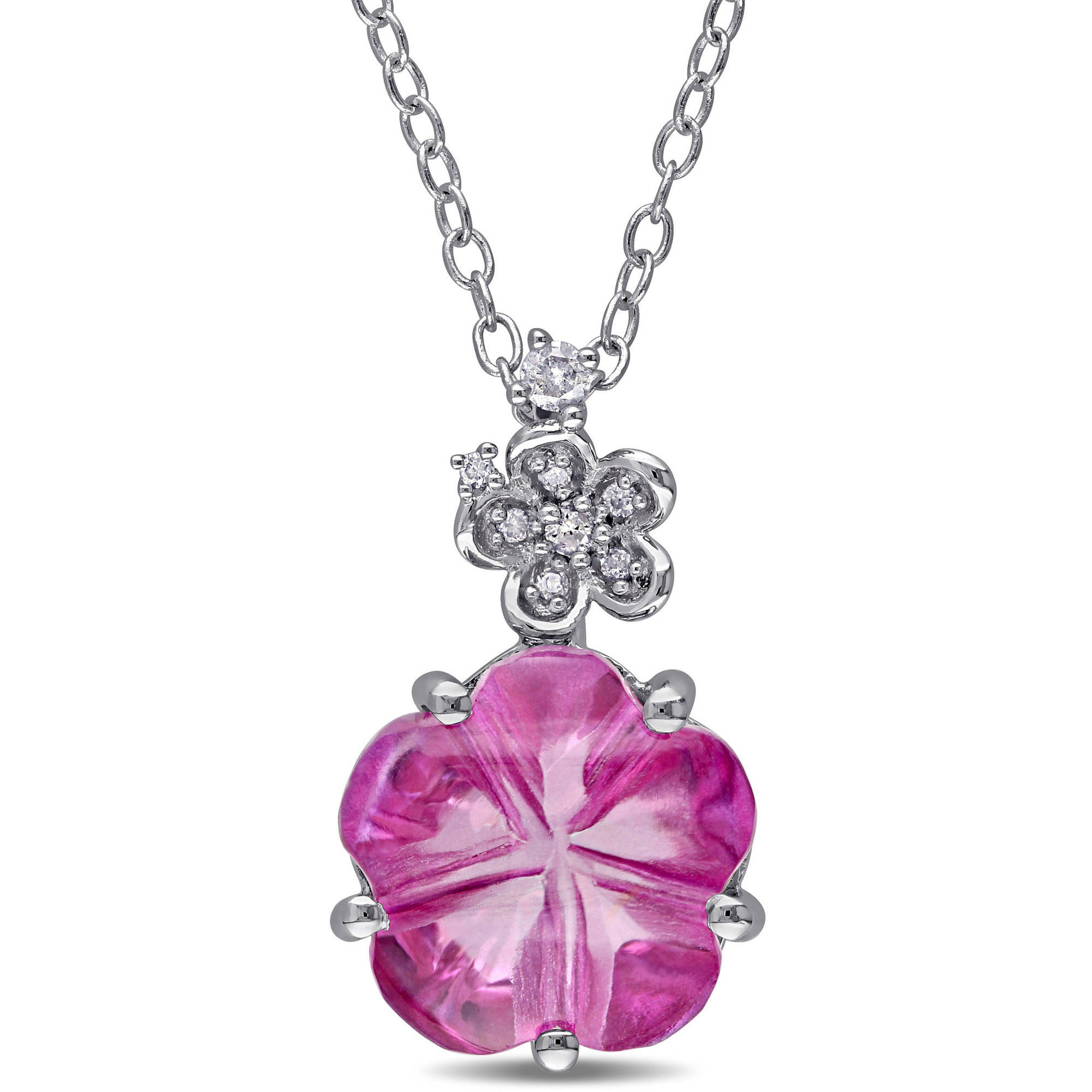 "Tangelo 6-1 4 Carat T.G.W. Pink Topaz and Diamond-Accent Sterling Silver Flower Pendant, 18"" by Tangelo"