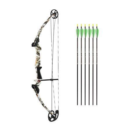 Genesis Compound Bow - Genesis Archery Original Compound Bow (Right Hand, White Camo) w/ Arrows (Black)