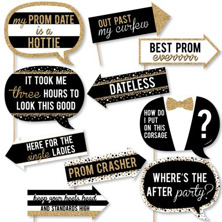 Funny Prom - Prom Night Party Photo Booth Props Kit - 10 Piece