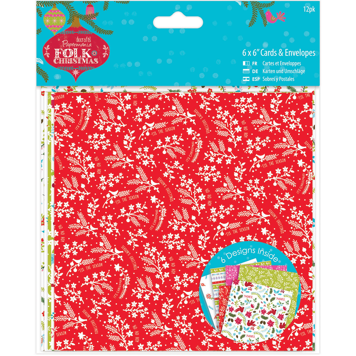 "Papermania Folk Christmas Cards W/Envelopes 6""X6"" 12/Pkg-Linen Finish"