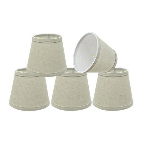 "Aspen Creative 32861-5 Small Hardback Empire Shape Chandelier Clip-On Lamp Shade Set (5 Pack), Transitional Design in Light Grey, 5"" bottom width (4"" x 6"" x 5"")"
