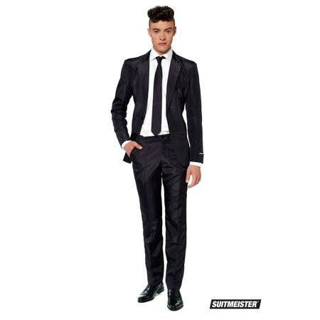 Suitmeister Men's Solid Black Solid Suit