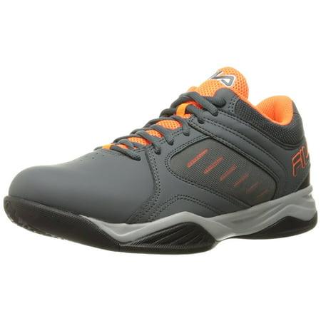 - Fila Bank Mens Grey Orange High Top Athletic Basketball Sneakers Shoes