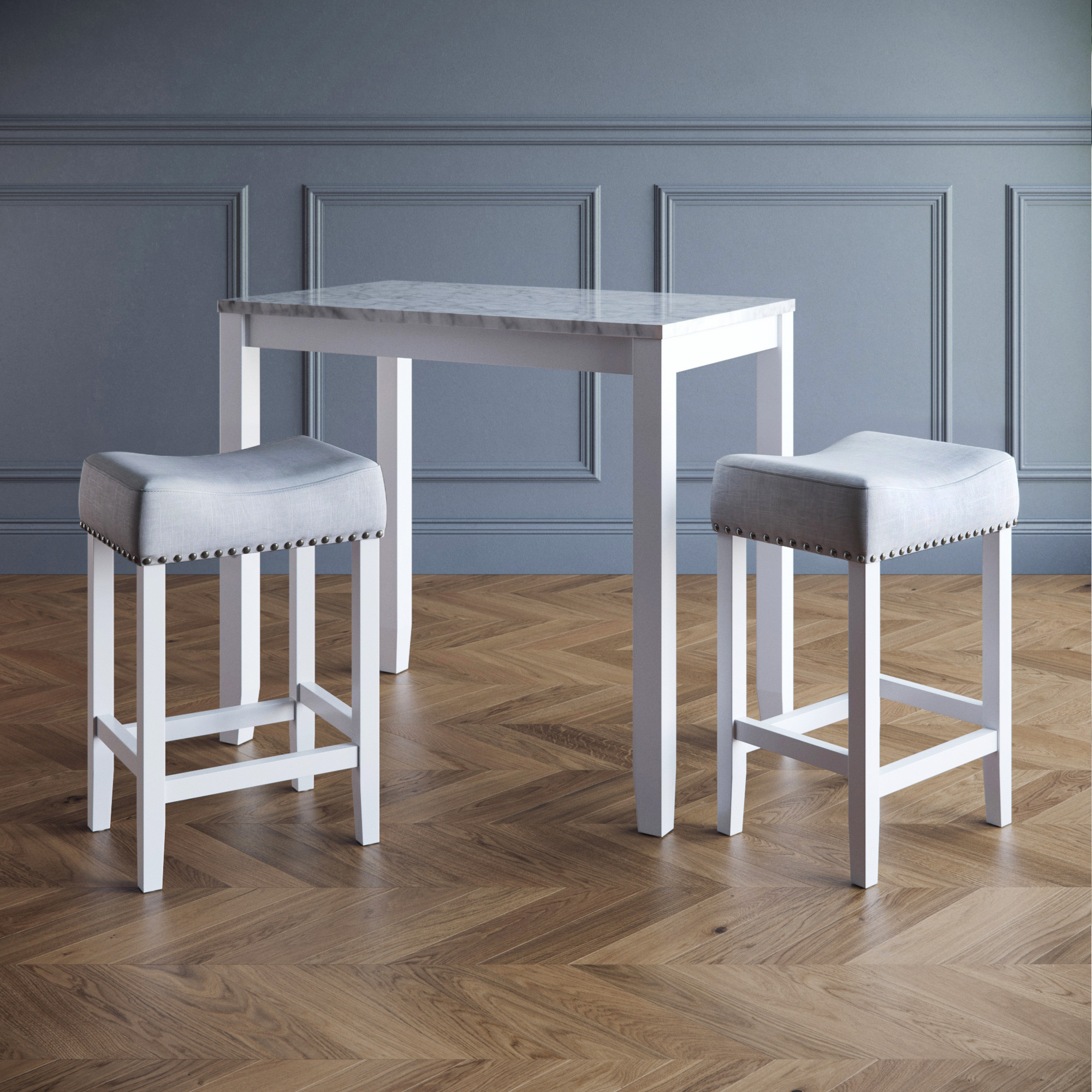 Viktor Three Piece Dining Set Kitchen Pub Table White Marble Top, White Wood Base, Light Gray Fabric Seat