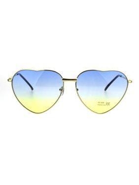 0e62ea875 Product Image Oceanic Gradient Lens Heart Shape Valentine Love Metal Rim Sunglasses  Blue Yellow