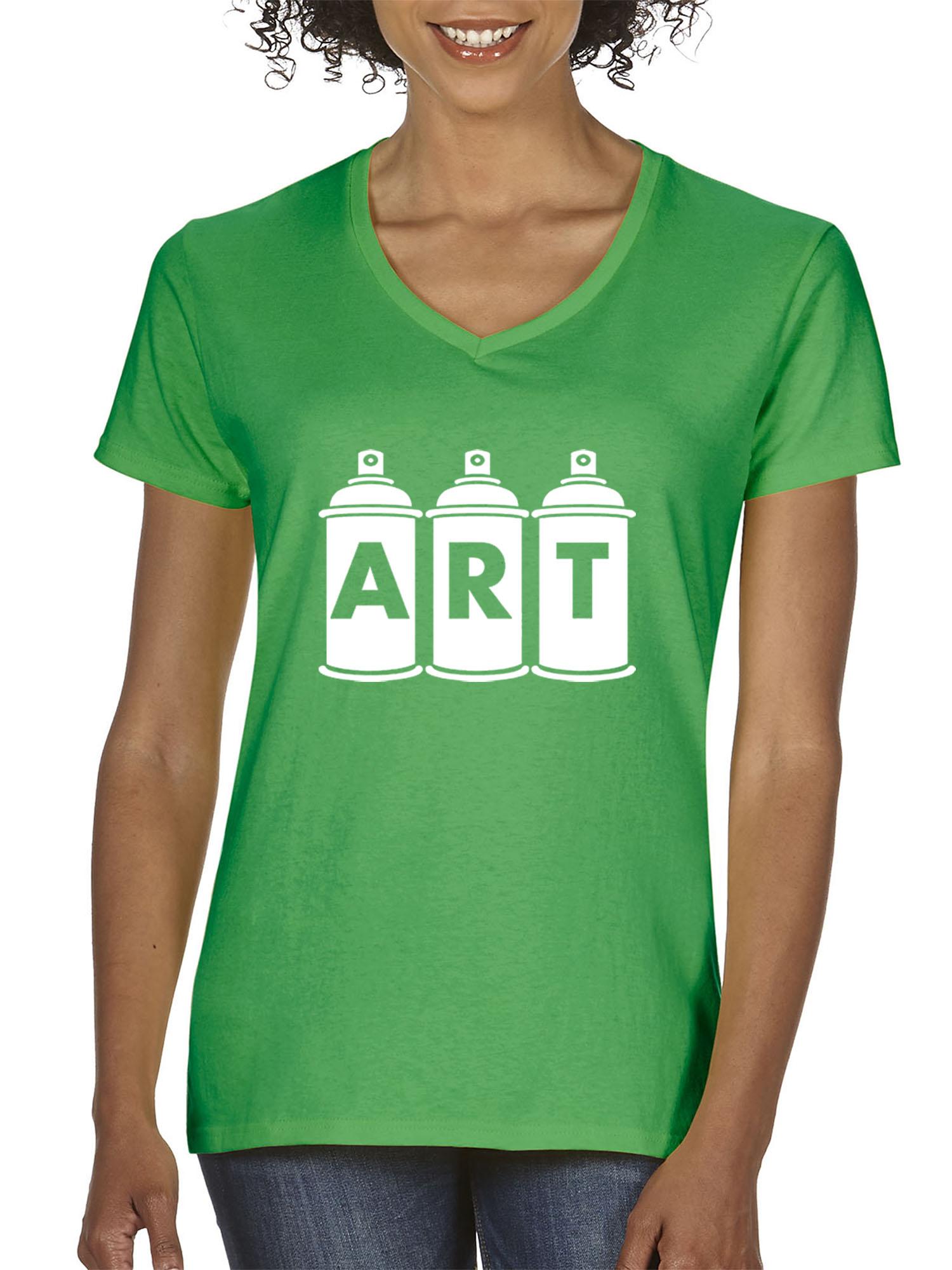 New Way New Way 926 Womens V Neck T Shirt Art Graffiti Spray