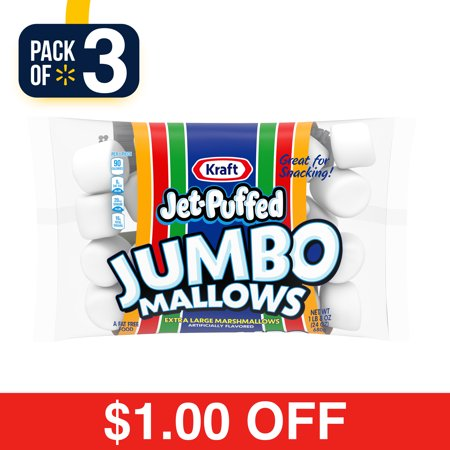 (3 Pack) Jet-Puffed Jumbo Mallows Marshmallows, 24 oz Bag - Marshmallow Snowman