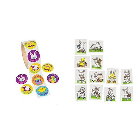 Easter Party Pack - 72 Glitter Easter Tattoos & 100 Easter Animal Stickers, Easter Fun pack of Tattoos and stickers By FEArtha From USA - Tattoos Of Animals