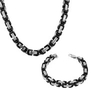 Stainless Steel Silver-Tone Black Mens Classic Link Chain Necklace Bracelet Set