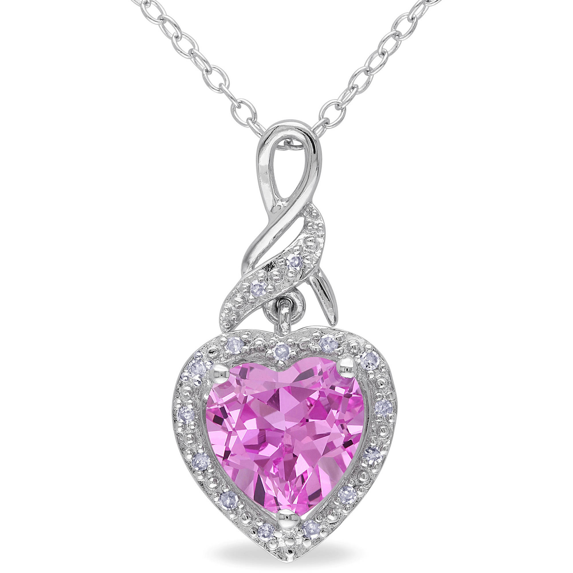 "2-1 4 Carat T.G.W. Created Pink Sapphire and Diamond Accent Sterling Silver Heart Pendant, 18"" by Generic"
