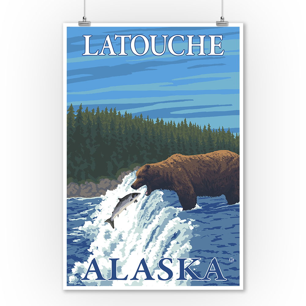 Bear Fishing in River - Latouche, Alaska - LP Original Poster (9x12 Art Print, Wall Decor Travel Poster)