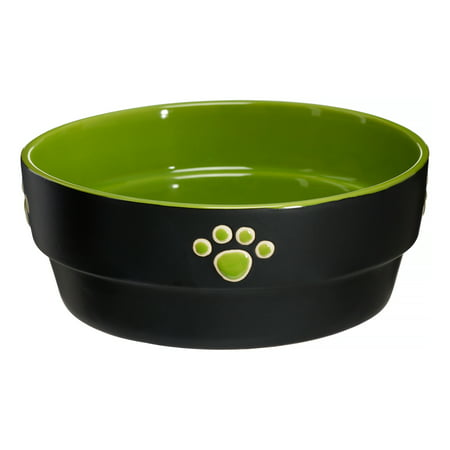 "Ethical Pet Fresco Dog Dish, 7"", Green/Black"