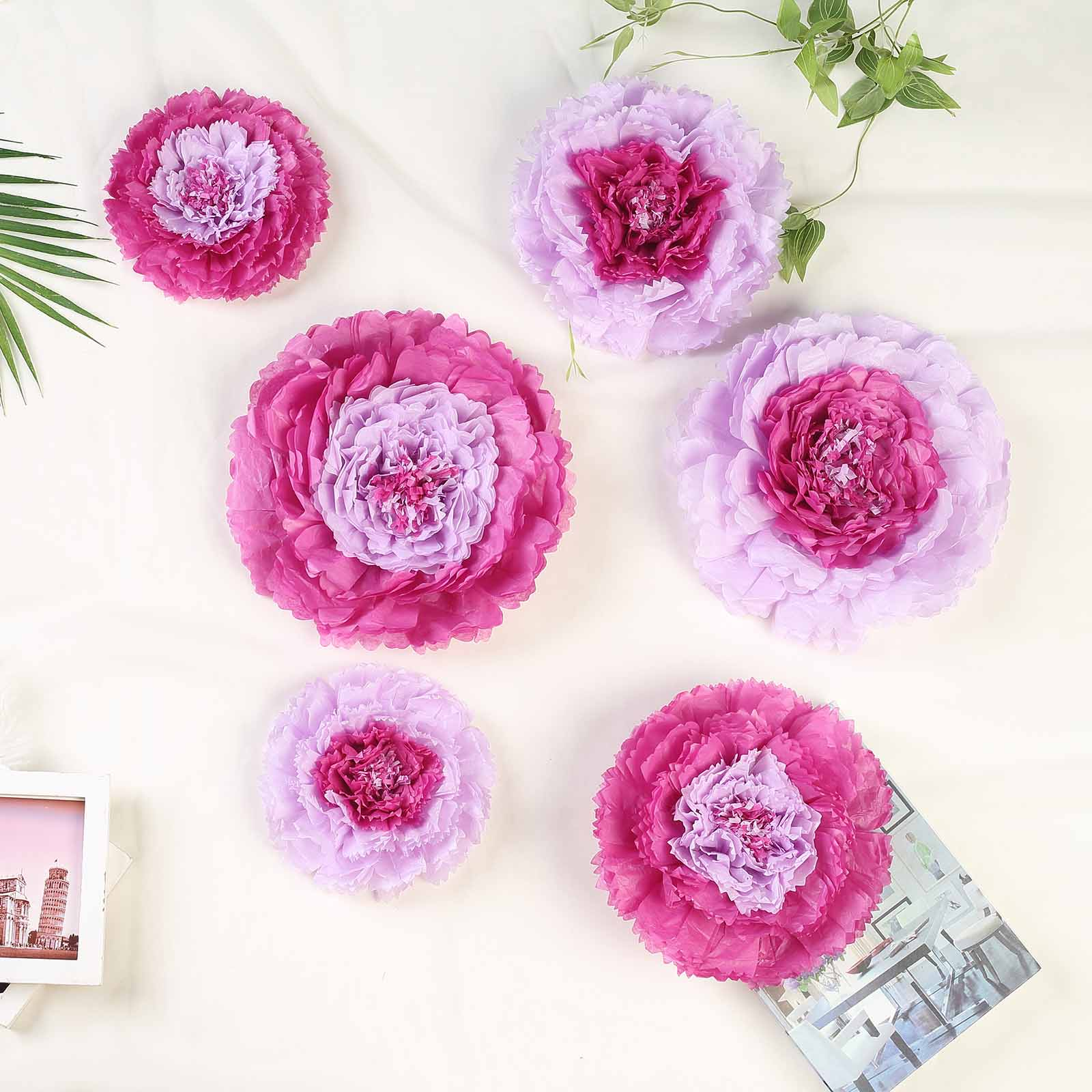 Balsacircle 6 Pcs 7 9 11 Inch Carnations Large Paper Flowers Wall Backdrop Party Wedding Accessories Decorations Supplies Sale