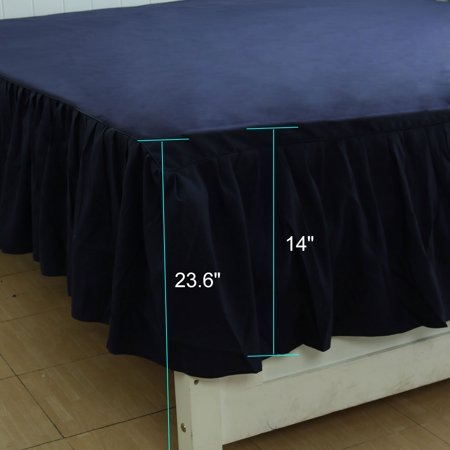 Pleated Bed Skirts Polyester Solid Dust Ruffle 14 Inch Drop Navy Blue, 40 - image 4 de 8