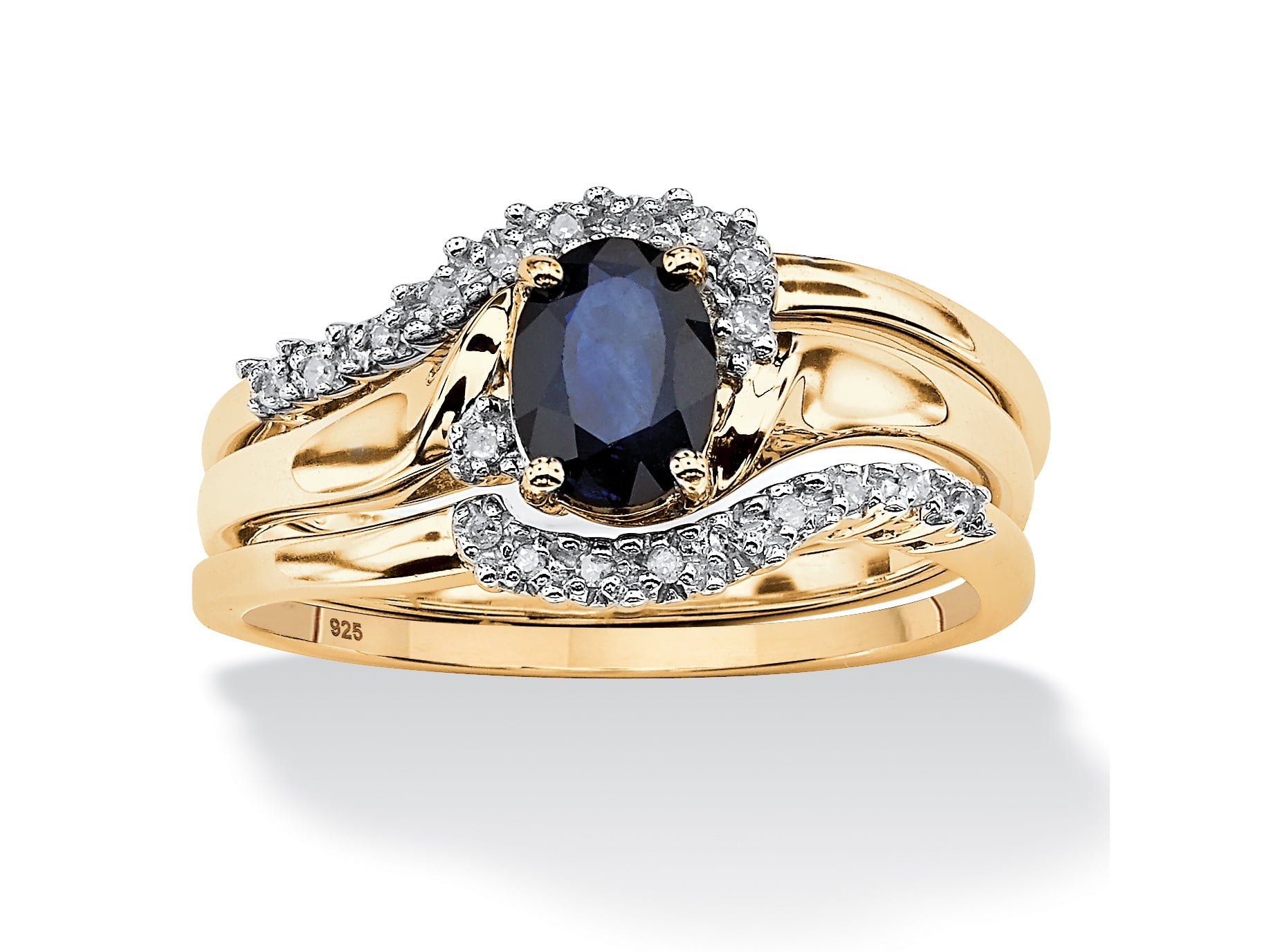 3 Piece Oval-Cut Midnight Sapphire Bridal Ring Set in 18k Gold over Sterling Silver by PalmBeach Jewelry