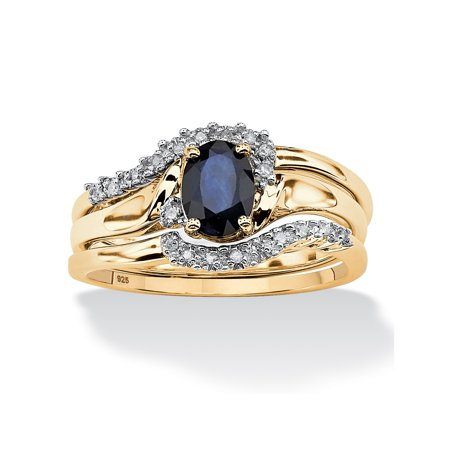 18k Bridal Set Ring - 3 Piece Oval-Cut Midnight Sapphire Bridal Ring Set in 18k Gold over Sterling Silver