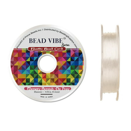 Elastic Bead Cord, Beadvibe Series Memory Stretch Non Fray, Clear 0.5mm Diameter 82ft (Orvis Stretch Cord)