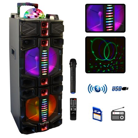 beFree Sound Dual 12 Inch Subwoofer BT Portable Party Speaker With LED Lights, USB/ SD Input, Battery, Remote Control And Microphone Party Portable Bluetooth