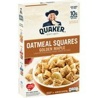 Quaker Oatmeal Squares Cereal, Golden Maple, 21 oz Box