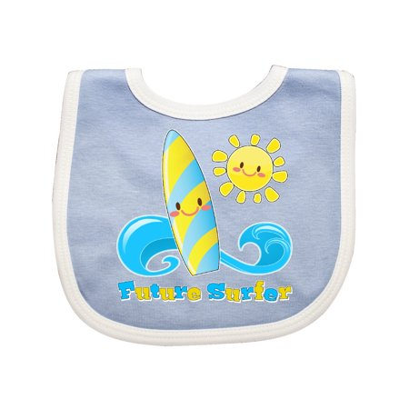 Future Surfer- surfboard and sun Baby Bib Blue/White One -