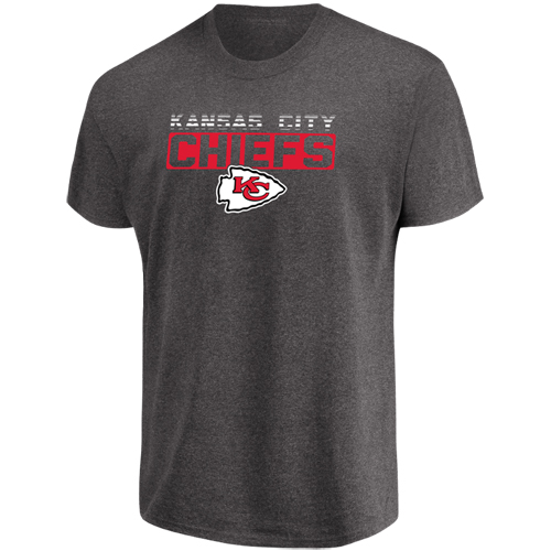 Men's Majestic Heathered Charcoal Kansas City Chiefs Come Into Play T-Shirt