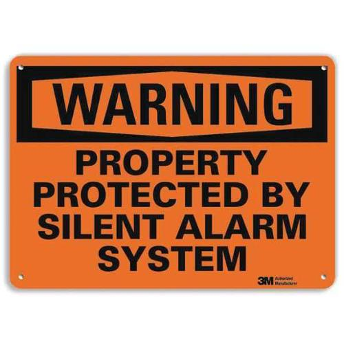 LYLE U6-1209-RA_14X10 Security Sign, Silent Alarm System, 10in H