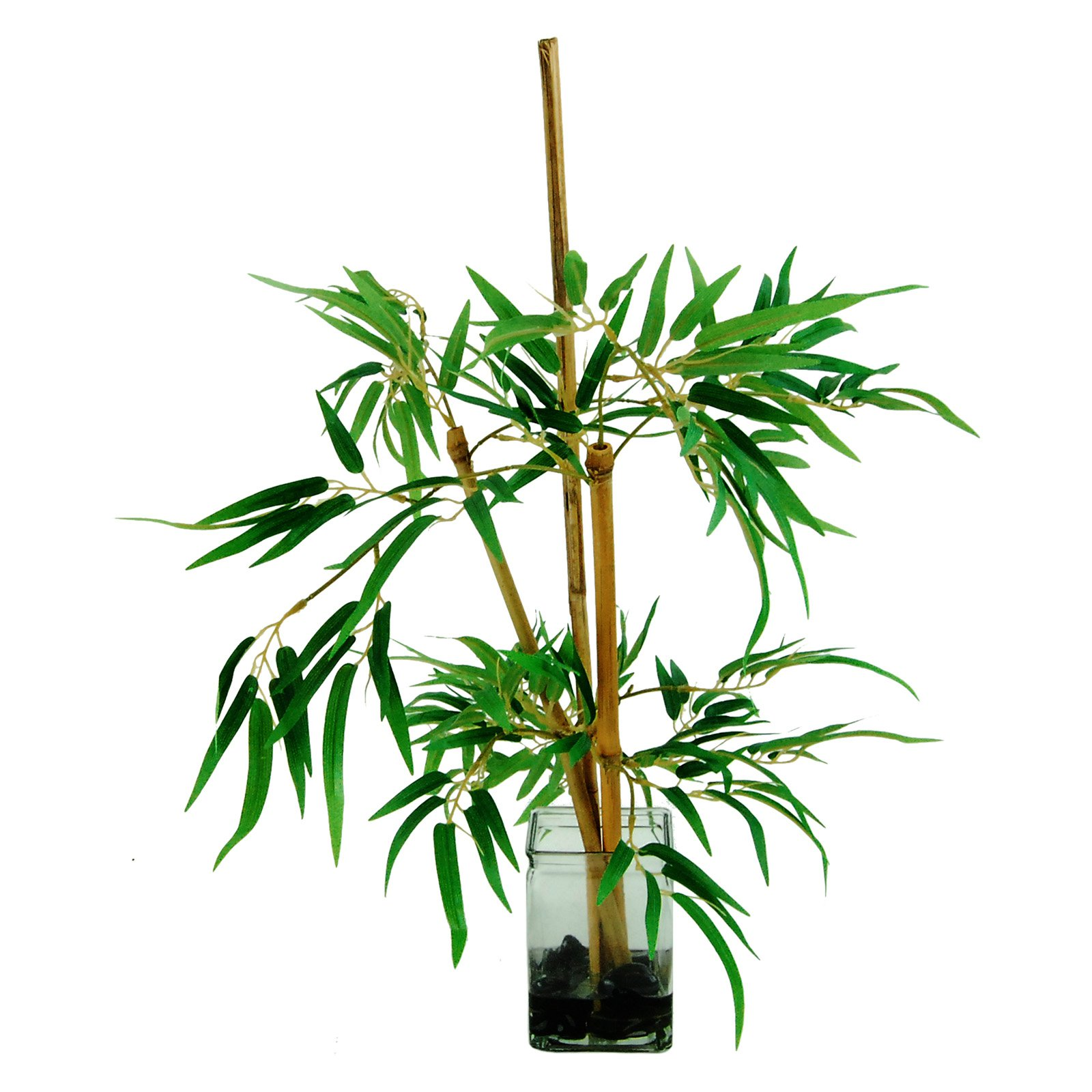 Bamboo Stalks in a Glass Vase with River Rocks and faux Water