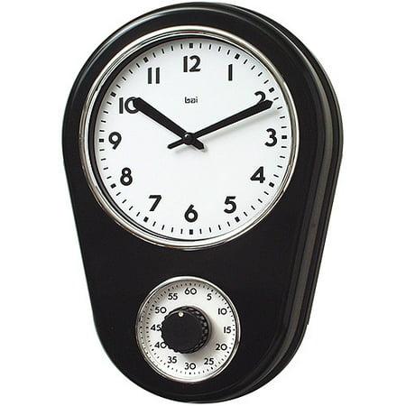 Bai Retro Kitchen Timer Wall Clock, Black - Walmart.com