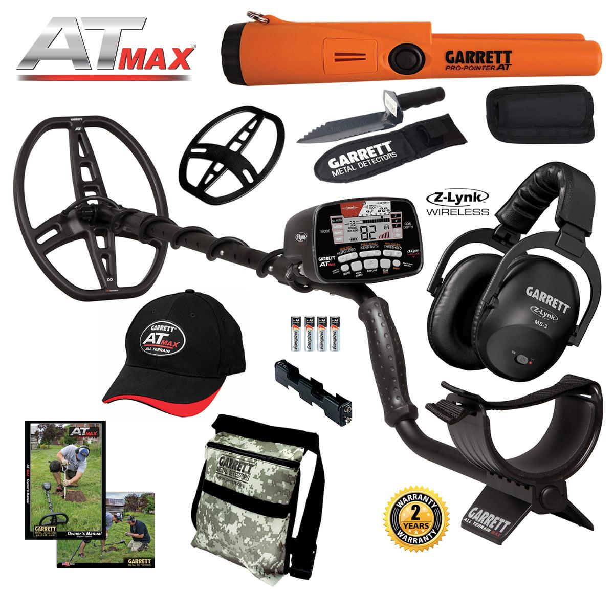 Garrett AT MAX Metal Detector, MS-3 Headphones, Pro-Pointer AT, Daypack & Digger by
