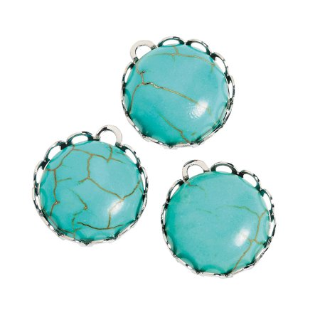 Fun Express - Turquoise Round Charms - Craft Supplies - Adult Beading - Charms - 12 Pieces