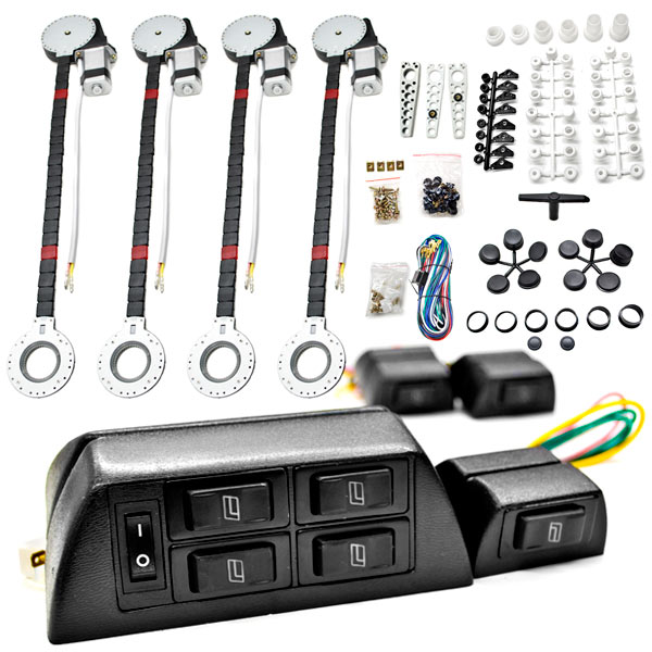 Biltek FULL COMPLETE CAR TRUCK 4 WINDOW AUTOMATIC POWER KIT WITH 7 SWITCHES KIT