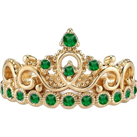 14K Yellow Gold Emerald Crown Ring (May)