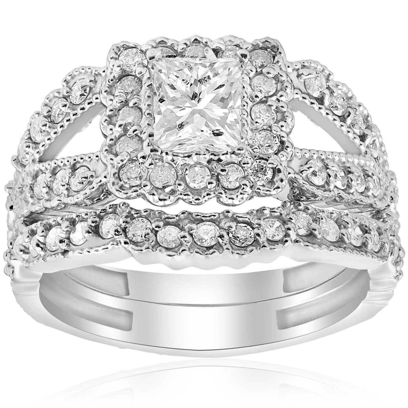1 1/10ct Princess Cut Halo Diamond Engagement Ring 14K White Gold Vintage Antique - image 4 of 4