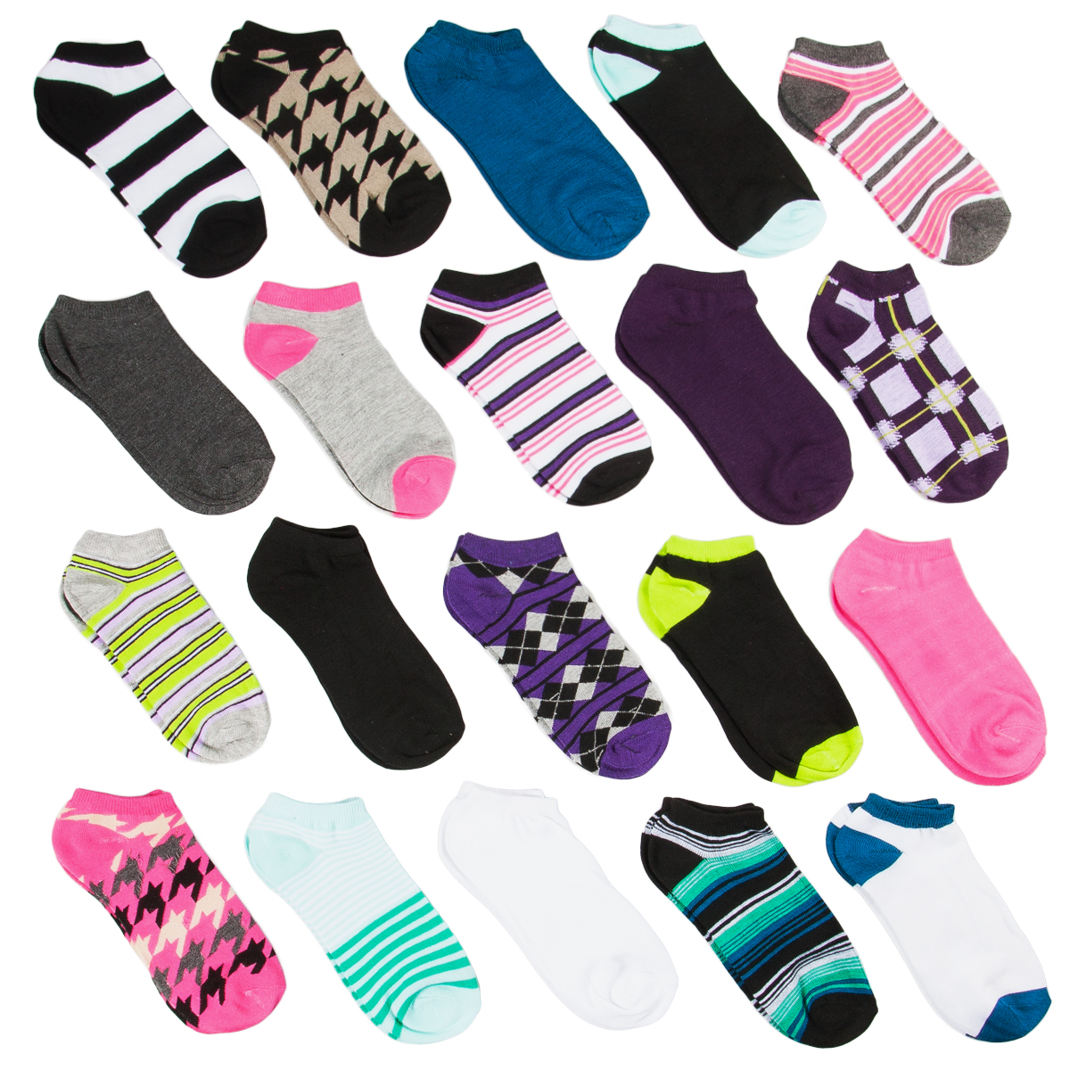 20 Pairs Girl's Athletic No-Show Ankle Socks Bulk Lot Assorted Prints Size 11-4