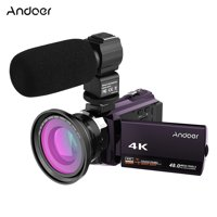 Andoer 4K 1080P 48MP WiFi Digital Video Camera Camcorder Recorder with 0.39X Wide Angle Macro Lens External Microphone Novatek 96660 Chip 3inch Capacitive Touchscreen IR Infrared 16X Digital Zoom