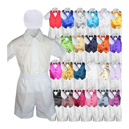 White Boy Toddler Formal Vest Shorts Suit Satin Vest Bow Tie Hat 5PC Set sz S-4T