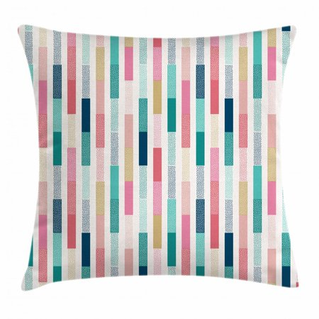 Abstract Throw Pillow Cushion Cover, Contemporary Avant-Garde Style Color Stripes Vertical Bars with Dots Creative Art, Decorative Square Accent Pillow Case, 18 X 18 Inches, Multicolor, by Ambesonne