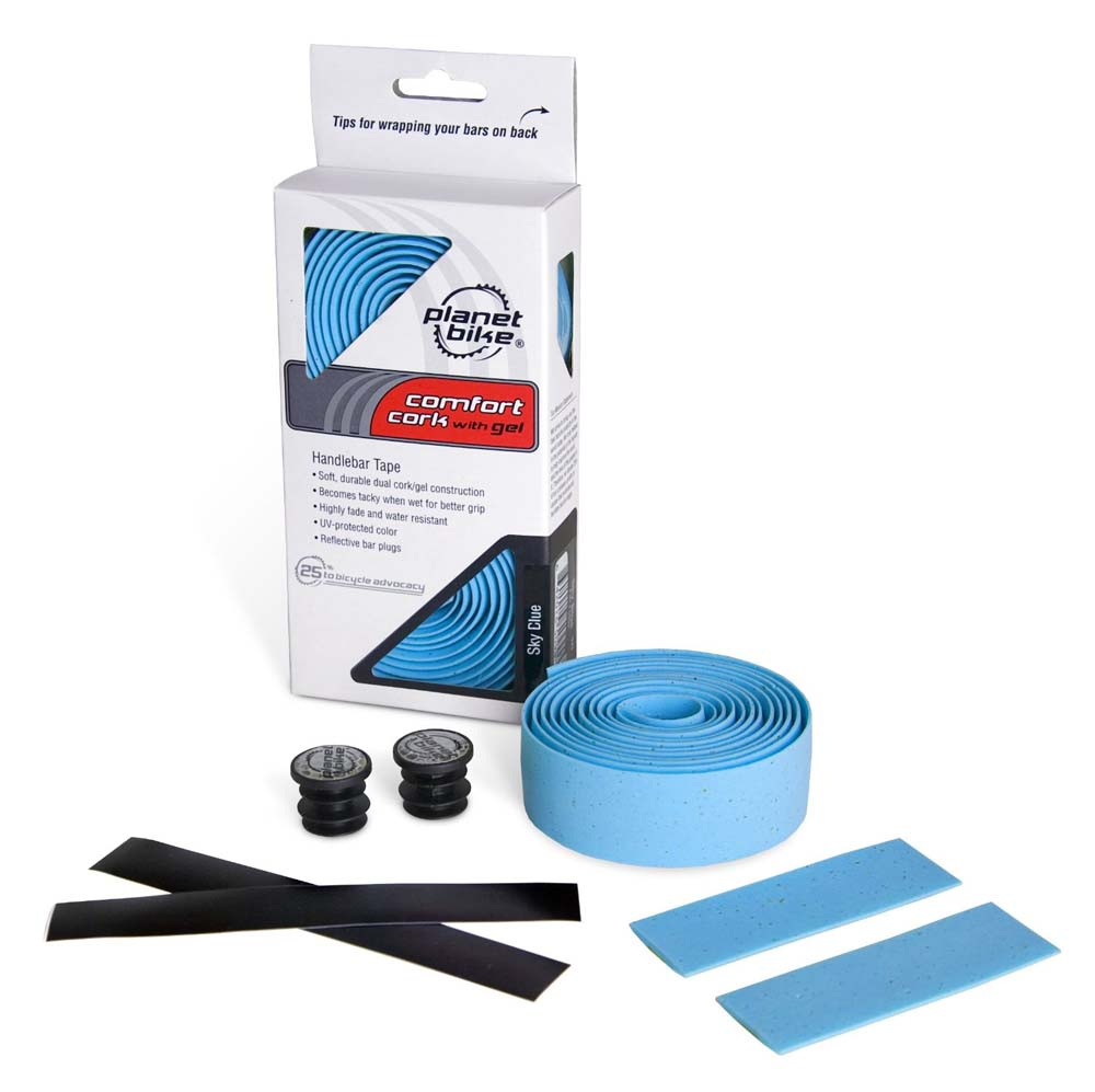 Planet Bike Handlebar Tape SKY BLUE Comfort Cork with Gel (Reflective Bar Plugs)