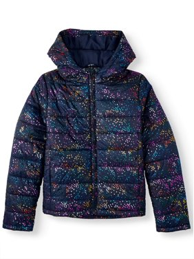 Climate Concepts Rainbow Foil Puffer Coat (Little Girls & Big Girls)