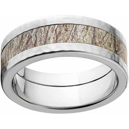 Comfort Fit Hammer (Brush Men's Camo Stainless Steel Ring with Hammered Edges and Deluxe Comfort Fit)