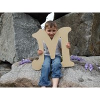Wooden Letter (M) Unfinished 6'' Wood Craft Letter, Paintable