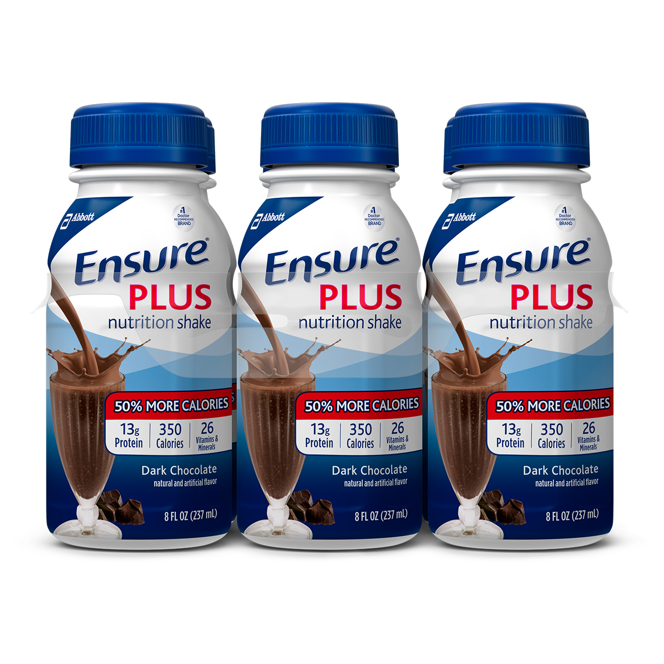 Ensure Plus Nutrition Shake, Rich Dark Chocolate, 8 fl oz (Pack of 6)