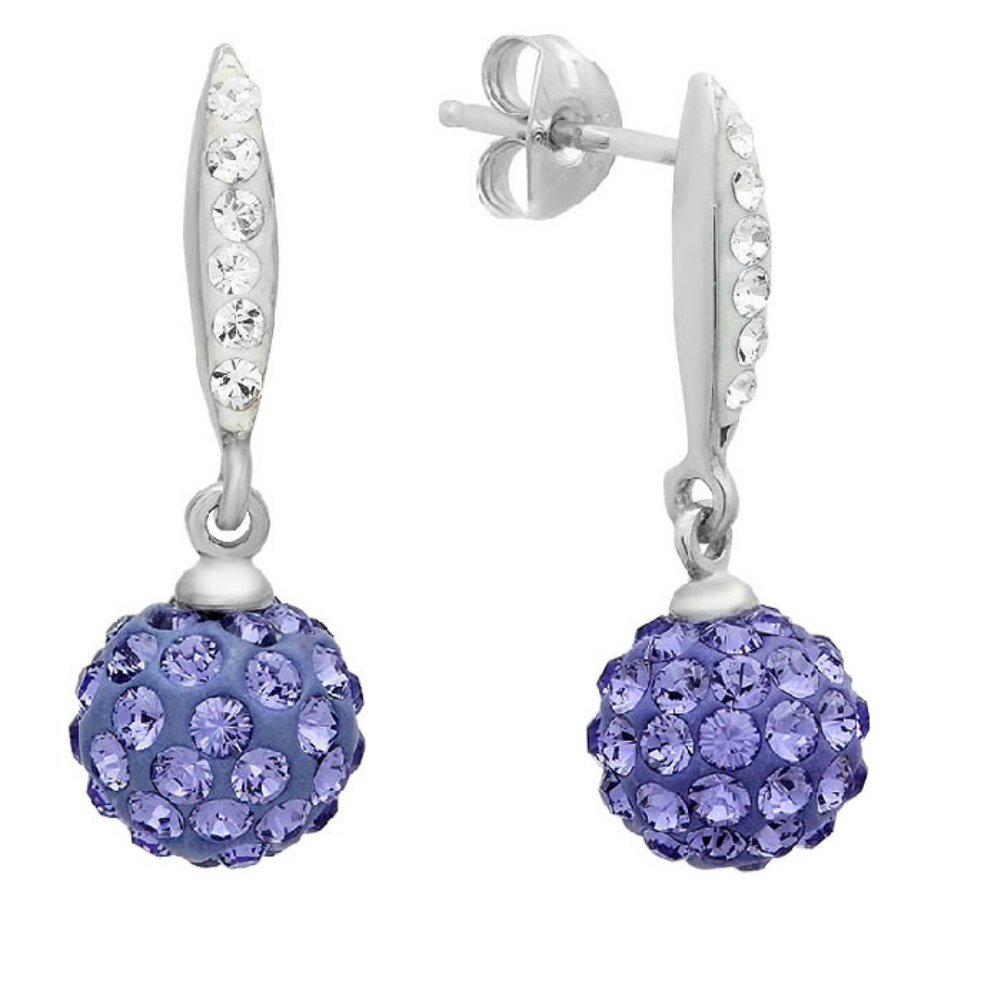 Sterling Silver Purple Ball Drop Earrings made with Swarovski Crystals