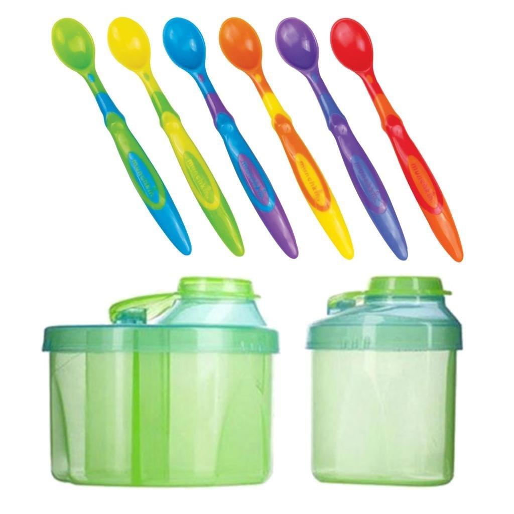 Munchkin Powdered Formula Dispenser Combo Pack with 6-Count Soft Tip Infant Spoons, Green