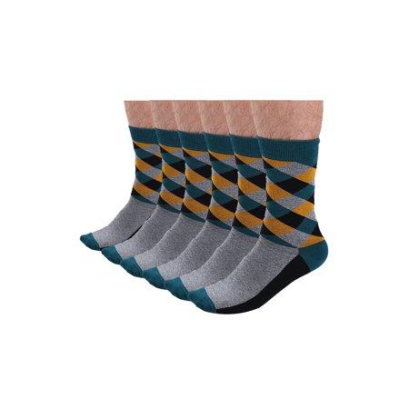 Mens Colour Block Argyle Dress socks Colorful Funny Sock Green Grey 6 pairs (Annoying Orange The Sock)